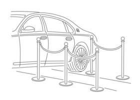 The limousine pulled up to the red carpet. Vector illustration