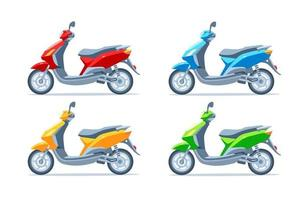 Scooter, motor scooter, motorcycle. Yellow, red, green, blue. Set. vector