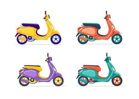 Electric scooter of different colors isolated. Set vector illustration