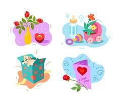 Engagement, childbirth, pet, birthday greetings. Vector illustration