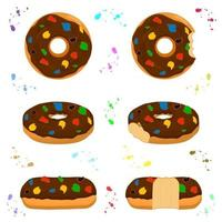 Illustration on theme big set different types sticky donuts vector