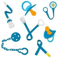 Big colored fashion baby pacifiers, dummy with rubber holder nipple vector
