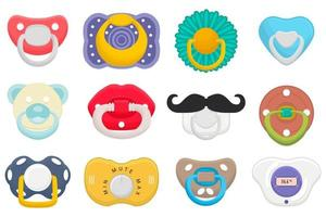 Illustration on theme big colored set baby pacifiers vector