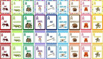 Letter A alphabet flashcard set vector