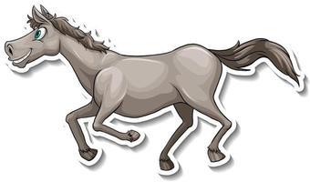Grey horse running cartoon animal sticker vector