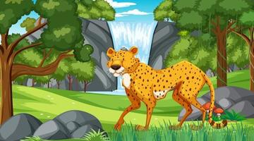 Cheetah in forest or rainforest at daytime scene vector
