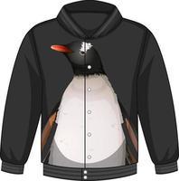 parte delantera de la chaqueta bomber con estampado de pingüinos vector