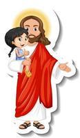 Jesus Christ holding a kid sticker on white background vector