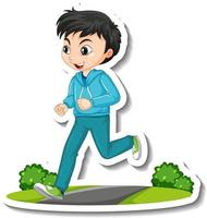Cartoon character sticker with a boy jogging on white background vector
