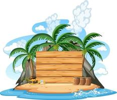 Pirate island with an empty banner isolated on white background vector