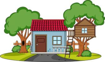 Front view of a house with nature elements on white background vector