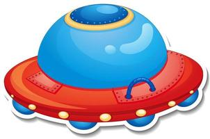 A sticker template with UFO or unidentified flying object isolated vector