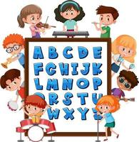 A-Z Alphabet board with many kids doing different activities vector