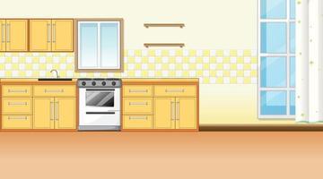 Kitchen interior design with furniture vector