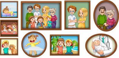 conjunto de foto de familia feliz en el marco de madera vector