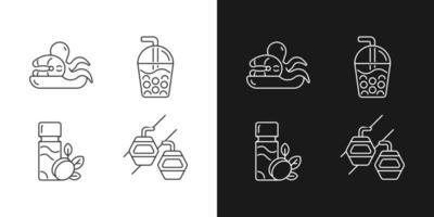 iconos lineales de entretenimiento de Taiwán configurados para el modo oscuro y claro. vector