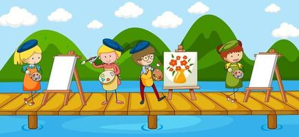 Scene with many artist cartoon character on the bridge crossing river vector