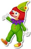 Sticker template with happy clown cartoon character vector