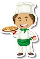 Sticker template with a chef man holds pizza tray isolated vector