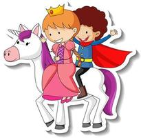 Cute stickers with a little princess and prince riding unicorn cartoon vector