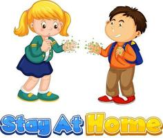 Two kids cartoon character not keep social distance Stay at Home font vector