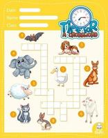 Plantilla de juego de crucigrama sobre animales vector