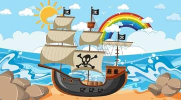 Ocean scene at day time with Pirate ship in cartoon style vector