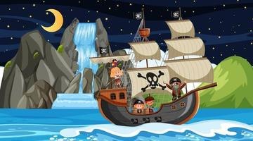 Island with Pirate ship at night scene in cartoon style vector