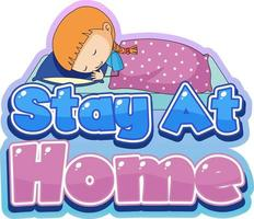 Stay At Home font design with little sleeping on white background vector