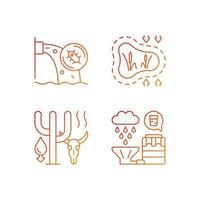 Worldwide rising water demand gradient linear vector icons set