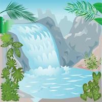Tropical Waterfall Illustration vector