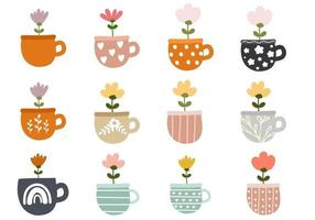 Cute Flowers in Pots vector