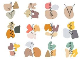 Plant Art and Abstract Shape Wall Decor vector