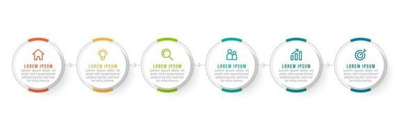 Timeline infographics Template Design With Arrows and 6 Circles vector