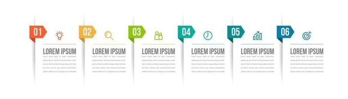 Six Step Infographics for Business vector