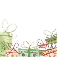 Ilustración acuarela de cajas de regalo. concepto de navidad. vector