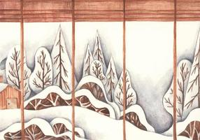 Winter background with pile of snow and landscape. Watercolor. vector