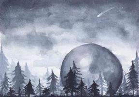 Peaceful spruce forest under night sky full of stars. vector