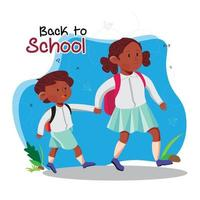 Poster of Back to School with children. vector