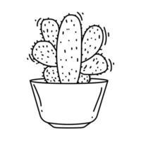 Gardening cactus icon. hand drawn icon set, outline black, doodle icon vector