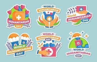 World Humanitarian Sticker Set vector