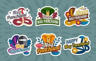 Nag Panchami Sticker Set vector