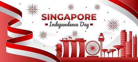 Singapore Independence Day Background vector