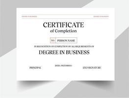 Degree in Business Certificate Design vector