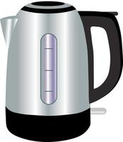 Modern electric kettle or kettle with hot boiling water inside vector