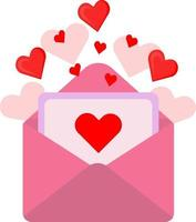Vector romantic envelope. In the envelope is a card with a heart.