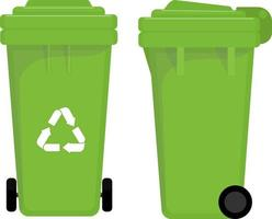 Garbage cans and bags in a flat style. The topic of cleaning vector