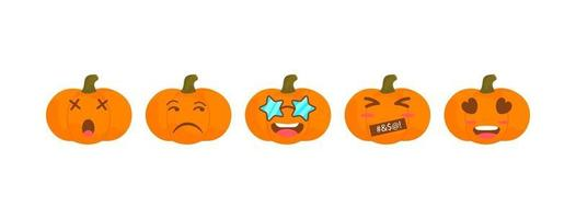 Vector emoji pumpkin halloween collection with different reactions.