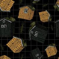 Canadian or Scandinavian wooden houses with grass on the roof vector