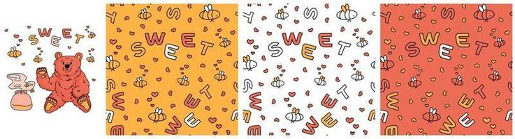 Set of three seamless vector patterns of outline cartoon bees hearts